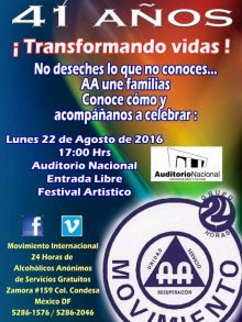 Paola Rojas en la celebración del  41 Aniversario de Alcohólicos Anónimos
